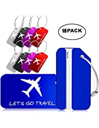Pack of 10 Luggage Tags, Aluminum Travel ID Labels Tag w/Stainless Steel Loop for Baggage Suitcase Handbag Luggage Bag