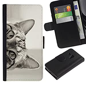Samsung Galaxy S3 MINI / i8190 (Not For Galaxy S3) Modelo colorido cuero carpeta tirón caso cubierta piel Holster Funda protección - Cat Peeking Black White Eyes Ears