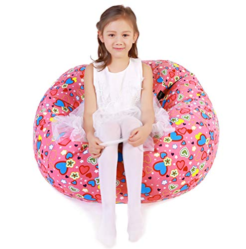 Lukeight Stuffed Animal Storage Bean Bag Chair, Bean Bag Cover for Organizing Kid's Room - Fits a Lot of Stuffed Animals, X-Large/Sweetheart Pink -