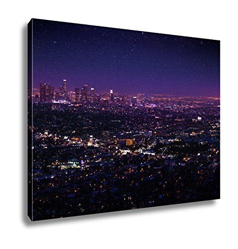 Ashley Canvas, Beautiful Night Sky Cityscape View Of Los Angeles, - Art Night Lights Enlightened