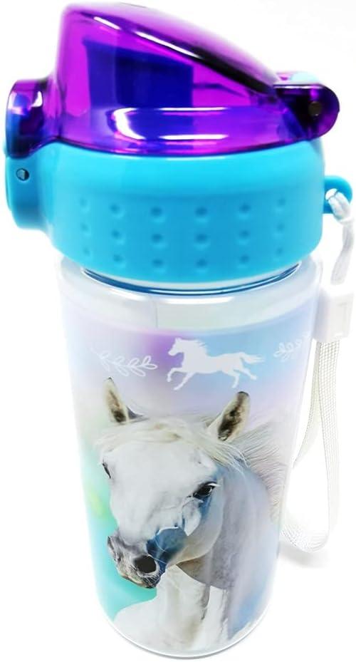 Botella de agua a prueba de fugas para niños, ligera, de Tritan y ácido carbónico, sin BPA, 500 ml, para escuela, guardería, deportes de caballo, caballos (caballos)