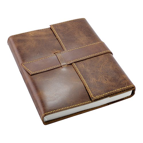 Leather Journal Travel Notebook - Handmade Refillable Writing Book for Men and Women - Perfect for Travelers to Write in - Plain Unlined Pages, Dark Brown Antique, 6 x 8 inches by Creoly