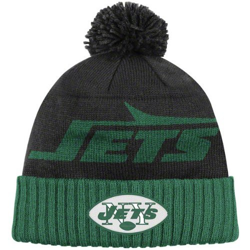 New York Jets Black Mitchell & Ness Throwbacks Cuffed Pom Knit Hat - New York Jets Knit Hat