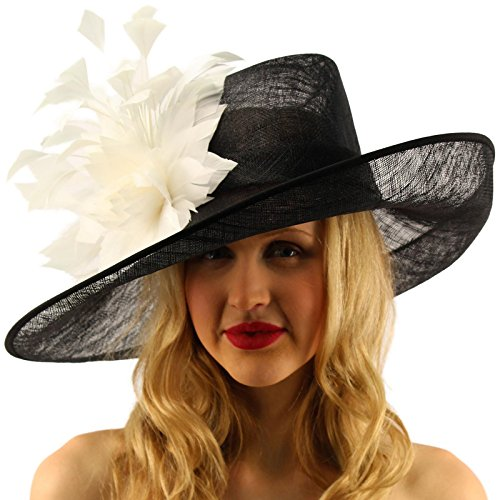 Glorious Side Flip Sinamy Floral Feathers Derby Floppy Dress Wide Brim Hat Black/White by SK Hat shop