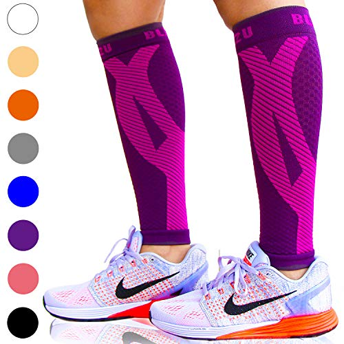 BLITZU Calf Compression Sleeve One Pair Leg Performance Support for Shin Splint & Calf Pain Relief. Men Women Runners Guards Sleeves for Running. Improves Circulation and Recovery Purple - 30 Traveler Caps Happy