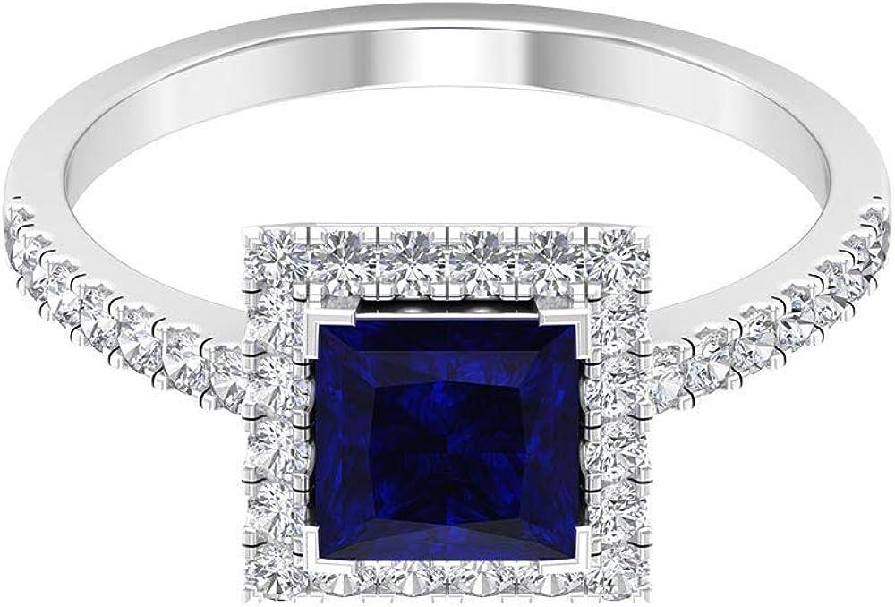 Anillo de boda con zafiro azul de 1,5 ct 6 mm, anillo de compromiso Art Deco, anillo de compromiso HI-SI con halo de diamantes, anillo de novia de cóctel, 14K Oro