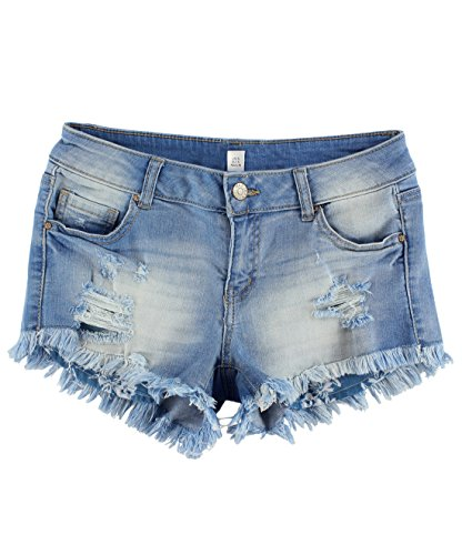 BLBD Women's Distressed Denim Shorts with Fray Edges Medium Small (Denim Fray)