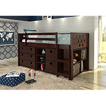 Amazon Com Donco Kids 760 Cp Low Study Loft Bed Dark