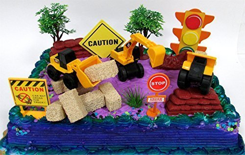 15 Piece CONSTRUCTION TRUCKS Themed Birthday Cake Topper Featuring Heavy Duty Equipment Vehicles and Decorative Themed Accessories (Equipment For Cake)