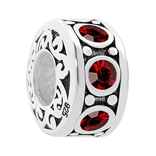CandyCharms Sterling Silver Filigree JAN Birthstone Red Crystal Charm Bead For Bracelets