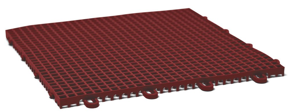 DuraGrid CR12BRIK Cross-Rib Design, Interlocking Modular Self-Draining Multi-Use Safety Floor Matting (12 Pack), Brick Red