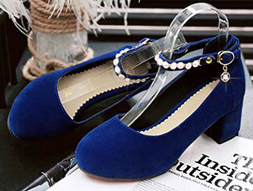 Shoes Ankle Round Blue Party Heel Buckled Beaded Womens Mid Toe Block Strap Aisun Bridal Dressy Pumps qZPtw6