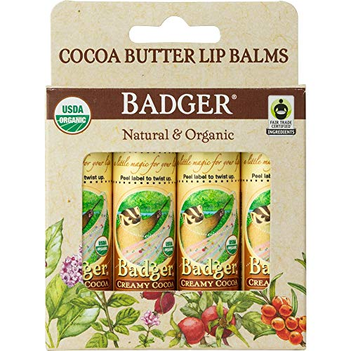 (Badger - Cocoa Butter Lip Balm, Creamy Cocoa .25oz Stick - 4)