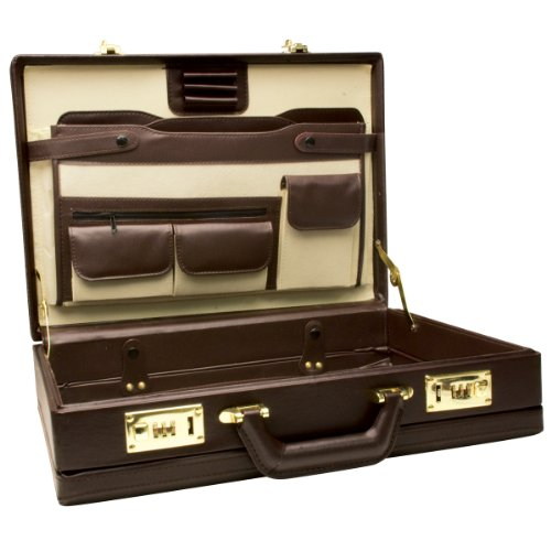 RoadPro CAP-003PM/BN Premium Brown Leather-Like Expandable Briefcase from RoadPro
