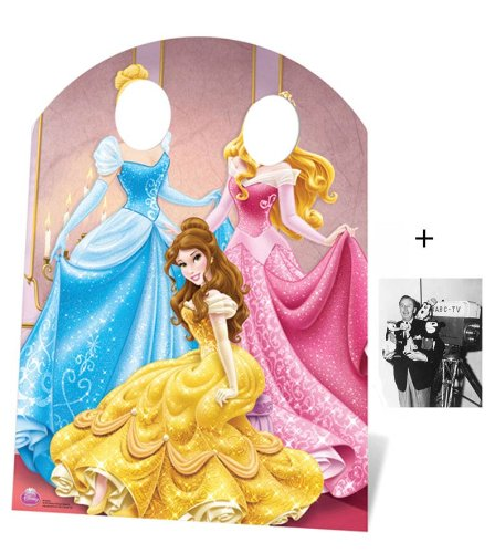 Disney Belle Cardboard Stand - Fan Pack - Disney Princess Stand-in (Child Size) Belle, Aurora and Cinderella Lifesize Cardboard Cutout / Standee - Includes 8x10 (25x20cm) Star Photo