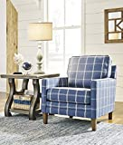Adderbury Blue and White Windowpane Plaid Print Accent Arm Chair