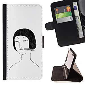 Asian Girl Portrait Drawing White Black - Painting Art Smile Face Style Design PU Leather Flip Stand Case Cover FOR LG OPTIMUS L90 @ The Smurfs