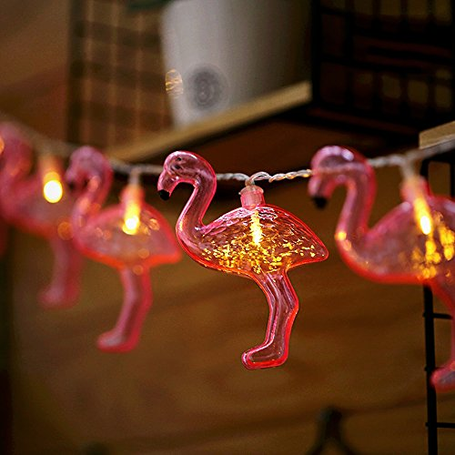 ElementDigital Battery Flamingo String Lights Retro Red Flamingo Party Light String tropical Flamingo Battery Operated Fairy Lights for Birthday Parties Decorative 10 LEDs 6.5ft ()