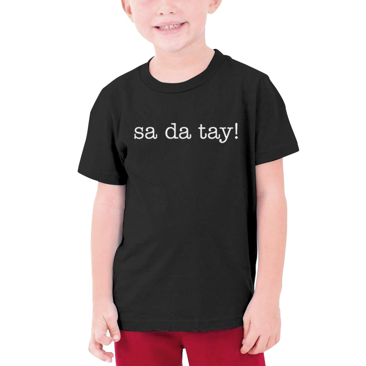 Kids Soft Cotton T Shirt Sa-Da-Tay Stylish Crewneck Short Sleeve Tops Black