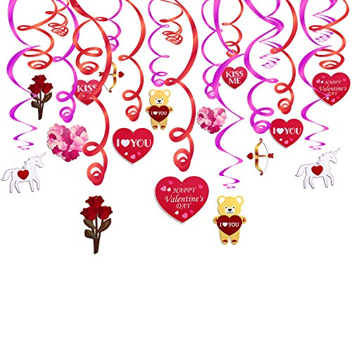 Valentine's day Decorations,Konsait Valentine Hanging Swirl Decorations for Home Party Dangling Ceiling Window Wall Decor Valentine Party Favor Supplies Accessories(30 Pcs)