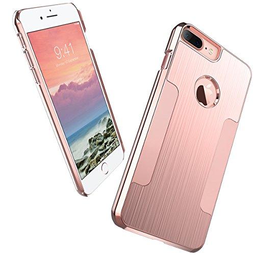 ULAK iPhone 7 Plus Case, iPhone 7 Plus Case Knox Armor Hybrid Slim Premium Aluminum Matte Finish Coating and Chrome PC Grip Protective Cover for iPhone 7 Plus 5.5 inch 2016 - Rose Gold