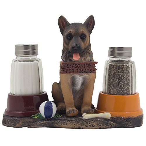 Adorable German Shepherd Puppy Dog Salt and Pepper Shaker Set with Food Bowls on Decorative Display Stand Holder Figurine for Police Dog Themed Kitchen Decor Spice Racks or Table Centerpieces (Country Themed Table Centerpieces)