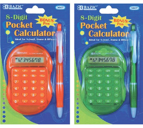 Bazic Multicolor 8-Digit Grip Calculator with Retractable Pen (Case of 144) by Bazic
