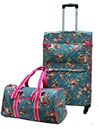 "Quilted Floral Lightweight Luggage Size 28"" & Carry-on Duffel Bag (2pc/set)"