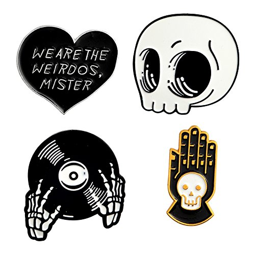 Cartoon Skull Women Brooches Collar Pins Set Enamel Button Badge Black Totem Bound for Jacket Shirt (we are The Weirdos)