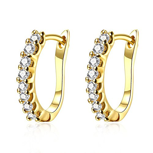 Buycitky 14K Yellow Gold Plated Rhinestone Hoop Earrings for Women Fashioin Jewelry...
