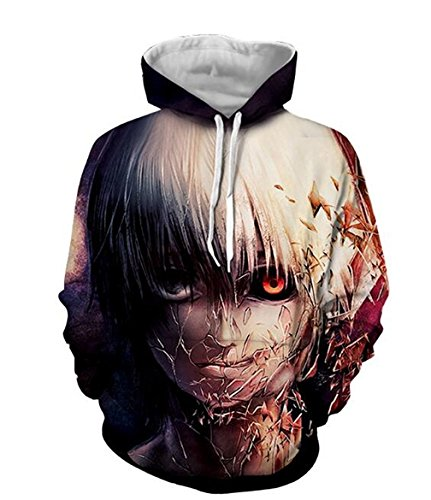 DreamAndReality Unisex Hoodies Tokyo Ghouls Ken Kaneki 3D Print Pullover Sportswear Sweatshirt Tops (141 Ken)