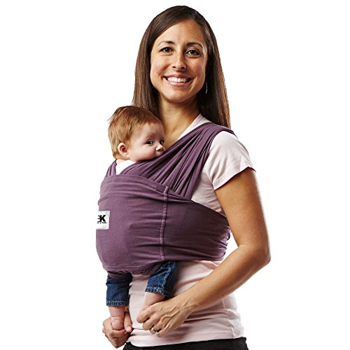 Baby K'tan Original Baby Wrap Carrier, Infant and Child Sling-Eggplant L (W dress 16-20 / M jacket 43-46). Newborn up to 35 lbs. Best for Babywearing. ()