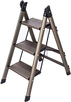 Escaleras de mano 3 Tread Light Plataforma Peso Aluminio Escalera Plegable, Anti-Slip Confort Pasos, Capacidad 150kg (Color : Champagne, Size : 3Steps): Amazon.es: Bricolaje y herramientas