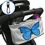 Stroller Organizer Baby Diaper Bag with Mobile Phone Holder – Universal Fit For Strollers – Includes Buggy Hook for Bags - Butterfly Blue