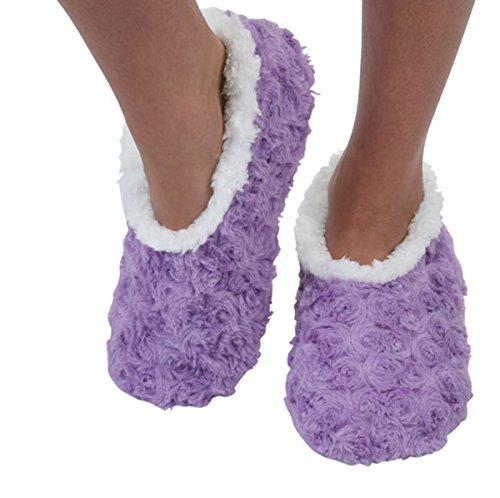 Snoozies Womens Bed Of Roses Cozy Sherpa Fleece Non Skid Slipper Socks - Lavender, Medium