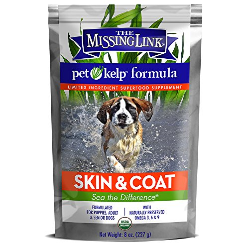 The Missing Link - Organic Pet Kelp, Skin & Coat Formula - Limited ingredient Superfood Supplement for Dogs rich in balanced Omegas 3, 6, and 9 to support healthy nutrition and skin & coat health -  8 ounces