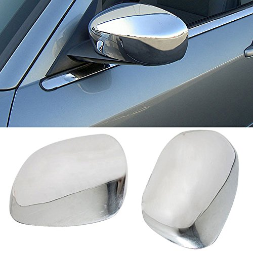 Mirror Covers Fits 2005-2010 Chrysler 300 300C | Polished Chrome ABS Plastic Protection Anti-Dust by IKON MOTORSPORTS | 2006 2007 2008 - Outside Chrome Mirror