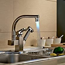Rozinsanitary Nickel Brushed Kitchen Faucet LED Vessel Sink Mixer Tap Single Handle Dual Spout