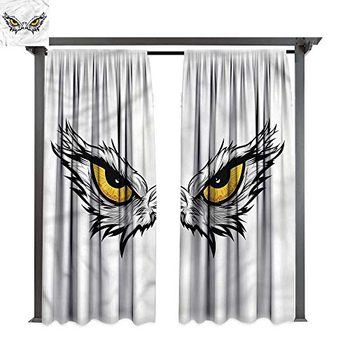cobeDecor Thermal Insulated Drapes Eye Angry Gaze of Bird of Prey for Lawn & Garden, Water & Wind Proof W72 xL84 -