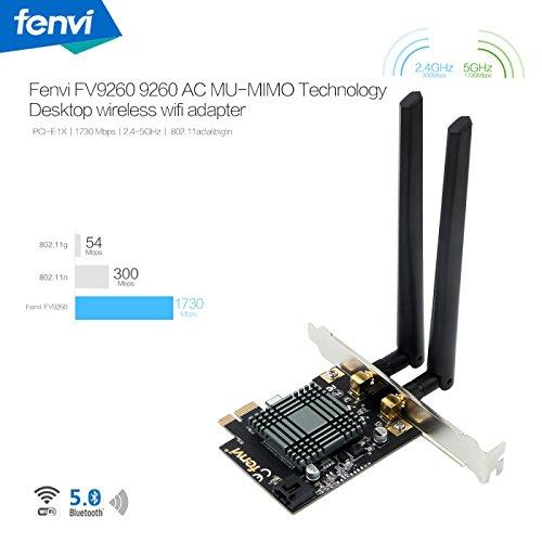 Fenvi Dual Band Wireless-AC 9260 PC PCIE 2030Mbps WiFi + Bluetooth 5.0 802.11ac 2.4Ghz / 5Ghz MU-MIMO Desktop WiFi PC Network Card only for Windows 10 64bit