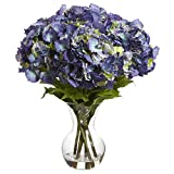 SKB Family Large Hydrangea W/Vase Silk Flower Arrangement Smooth Blue Flowers Plant