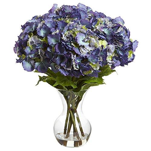 Nearly Natural Hydrangea with Vase Silk Flower Arrangement, Large