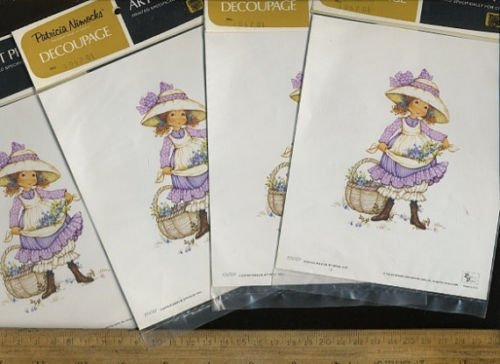OLD STORE STOCK : VINTAGE ART SUPPLIES : 4 pcs - Art Prints 1974 Decoupage + PAPER ARTS CRAFTS Holly Hobby Country Girl in purple dress + straw hat Prairie (Artprints used in crafts, repurpose, etc)