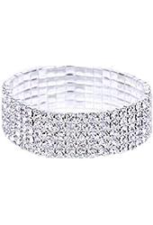 Wolkstore Elastic Stretchy Rhinestone Crystal Bracelet Bangle Wedding Bridal Jewellery