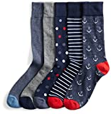 Goodthreads Men's 5-Pack Patterned Socks, Assorted Blue/Red/Grey, Shoe Size: 8-12