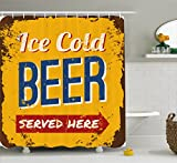 Ambesonne Man Cave Decor Shower Curtain by, Vintage Worn Out Rusty Sign Design Ice Cold Beer Served Here Beverage Print, Fabric Bathroom Decor Set with Hooks, 70 Inches, Multicolor