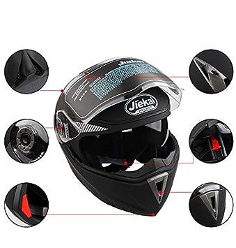 Amazon.es: Casco de Moto de Doble Lente con Visera Integral Casco de Protección de Motocicleta (XL, Negro No Reflexivo)
