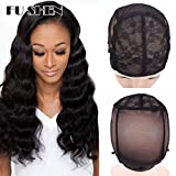 Elastic Wig Caps For Making Wigs Stretch Lace Weaving Cap Extra Large For Big Head with Adjustable Straps and Combs (Black 1 Piece XL-23Inch)
