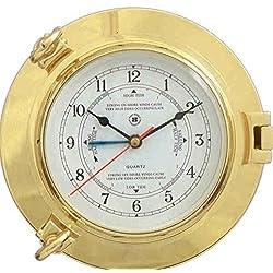 Bey-Berk International Brass Porthole Tide/Time Clock - Tarnish Proof