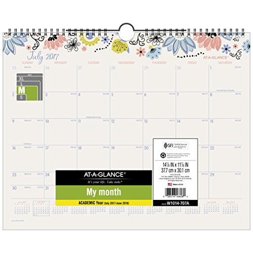 AT-A-GLANCE Academic Wall Calendar, July 2017 - June 2018, 14-7/8' x 11-7/8', Claire (W1014-707A)